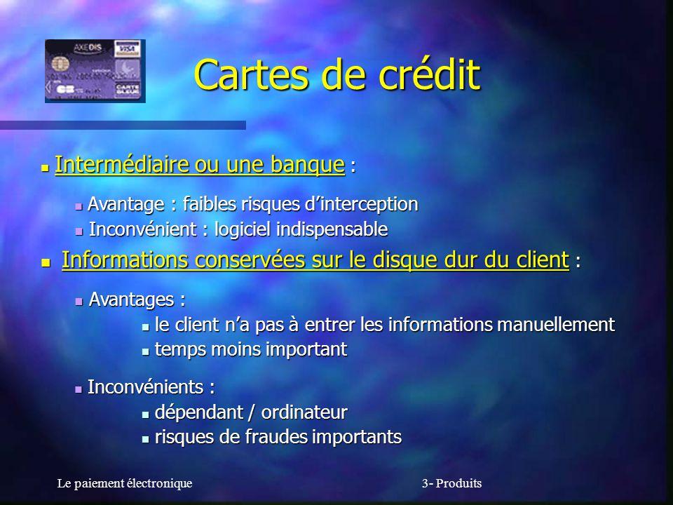 Cartes de crédit Informations conservées sur le disque dur du client :
