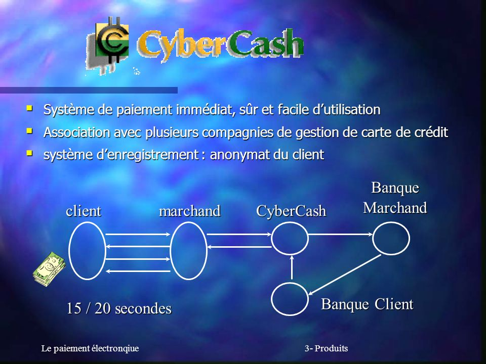 Banque Marchand client marchand CyberCash 15 / 20 secondes