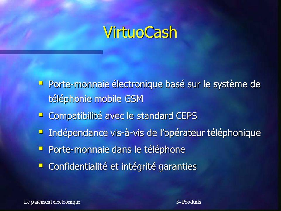 VirtuoCash Porte-monnaie électronique basé sur le système de téléphonie mobile GSM. Compatibilité avec le standard CEPS.
