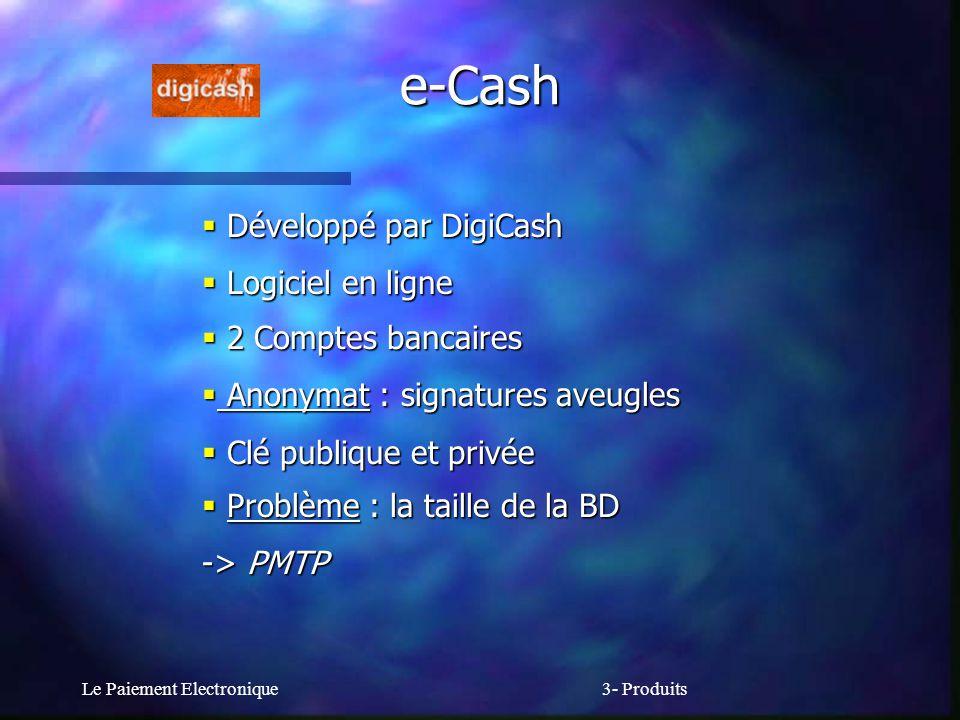 e-Cash Développé par DigiCash Logiciel en ligne 2 Comptes bancaires