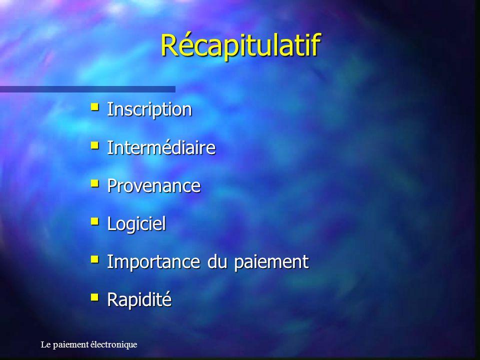 Récapitulatif Inscription Intermédiaire Provenance Logiciel