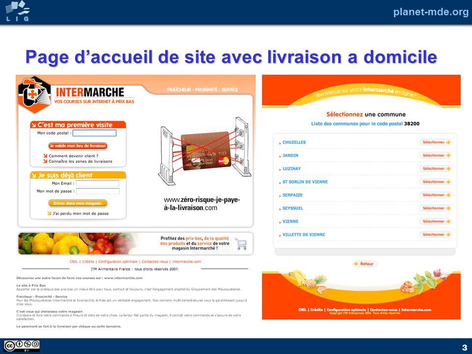 Page d'accueil de site avec livraison a domicile