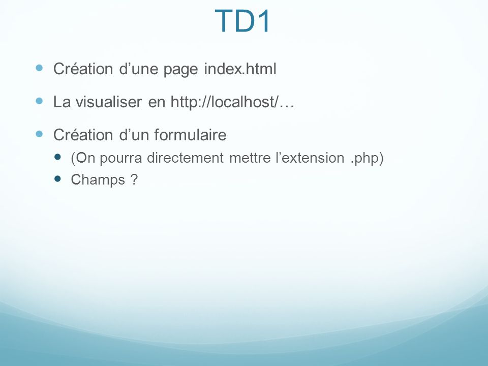 TD1 Création d'une page index.html La visualiser en http://localhost/…