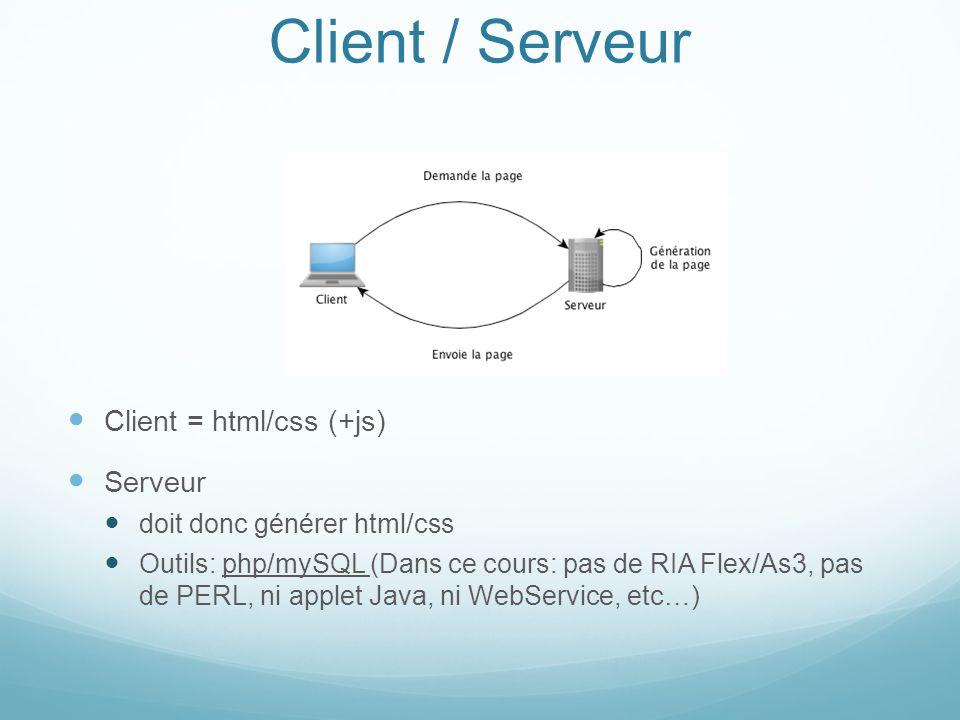Client / Serveur Client = html/css (+js) Serveur