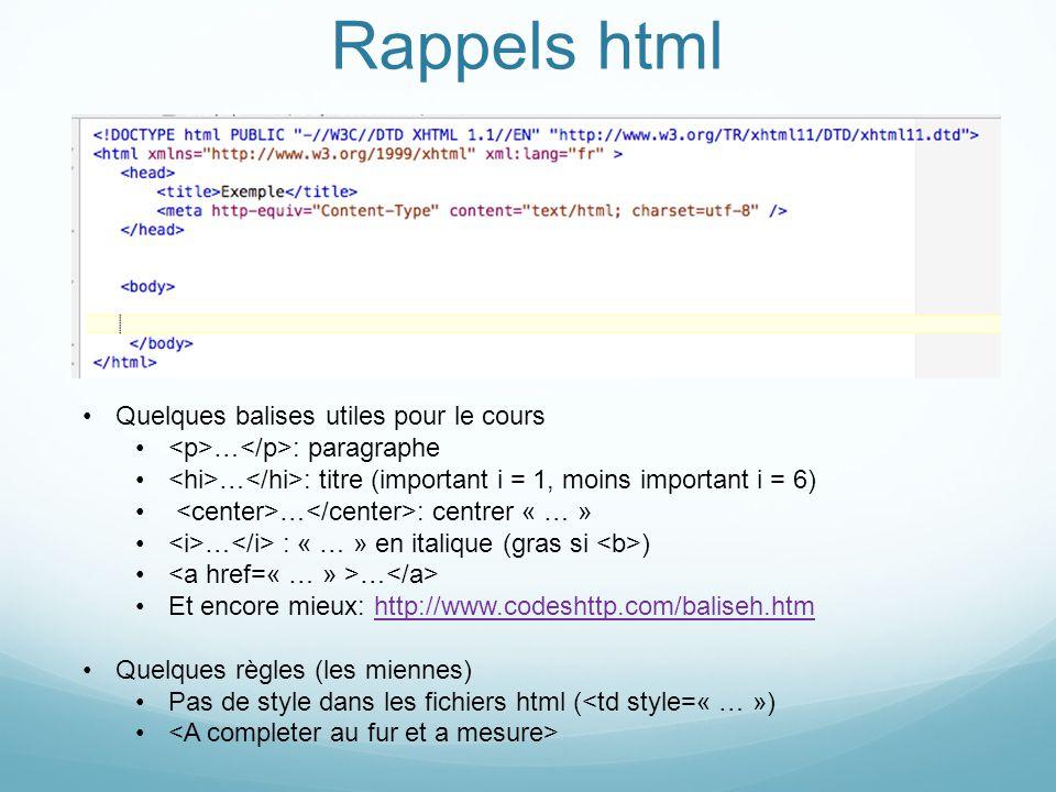 Rappels html Quelques balises utiles pour le cours