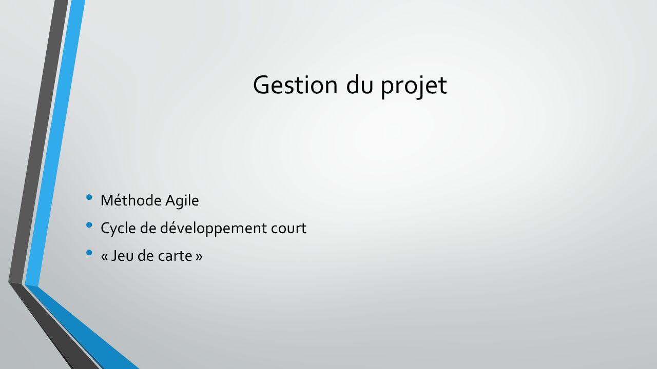 Gestion du projet Méthode Agile Cycle de développement court