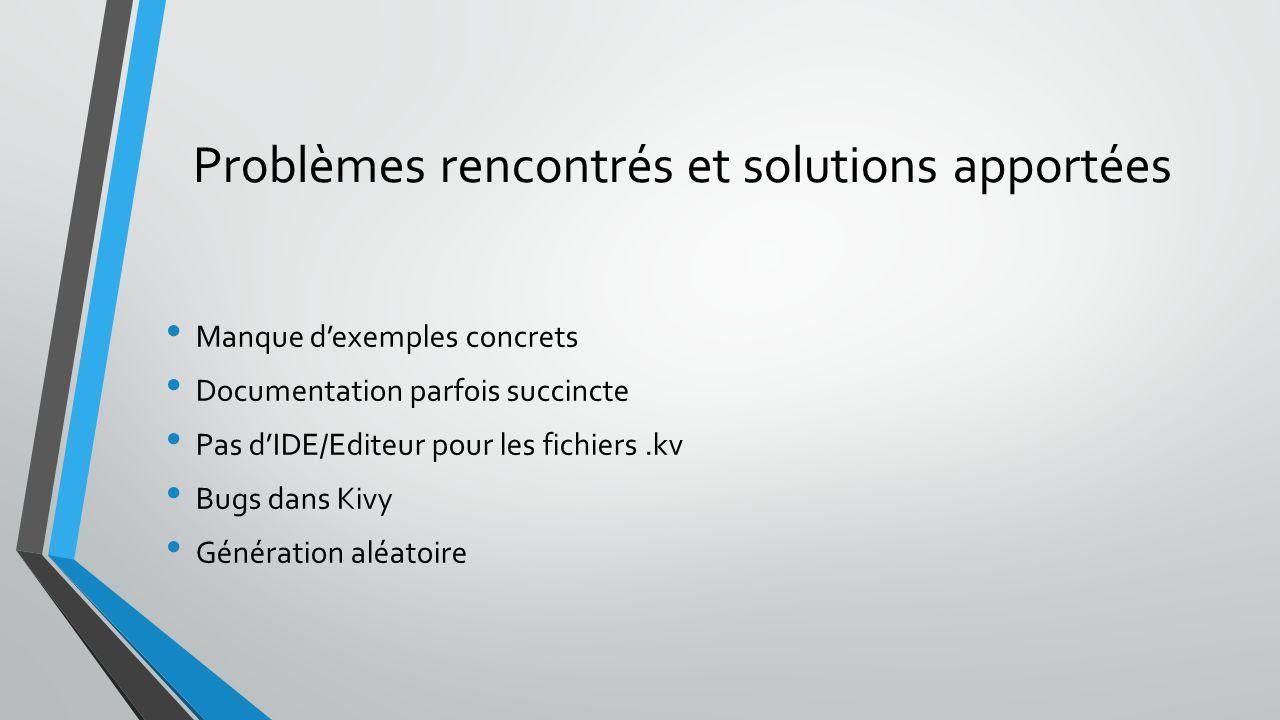 Problèmes rencontrés et solutions apportées