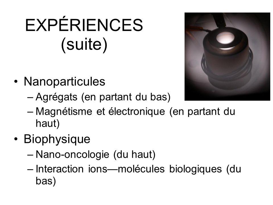 EXPÉRIENCES (suite) Nanoparticules Biophysique