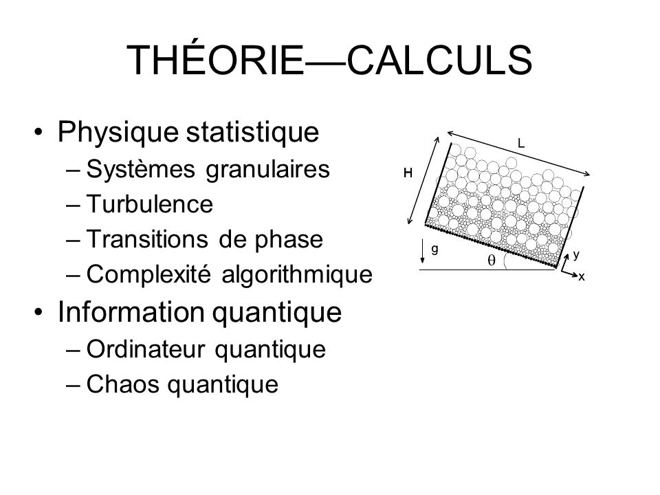 THÉORIE—CALCULS Physique statistique Information quantique