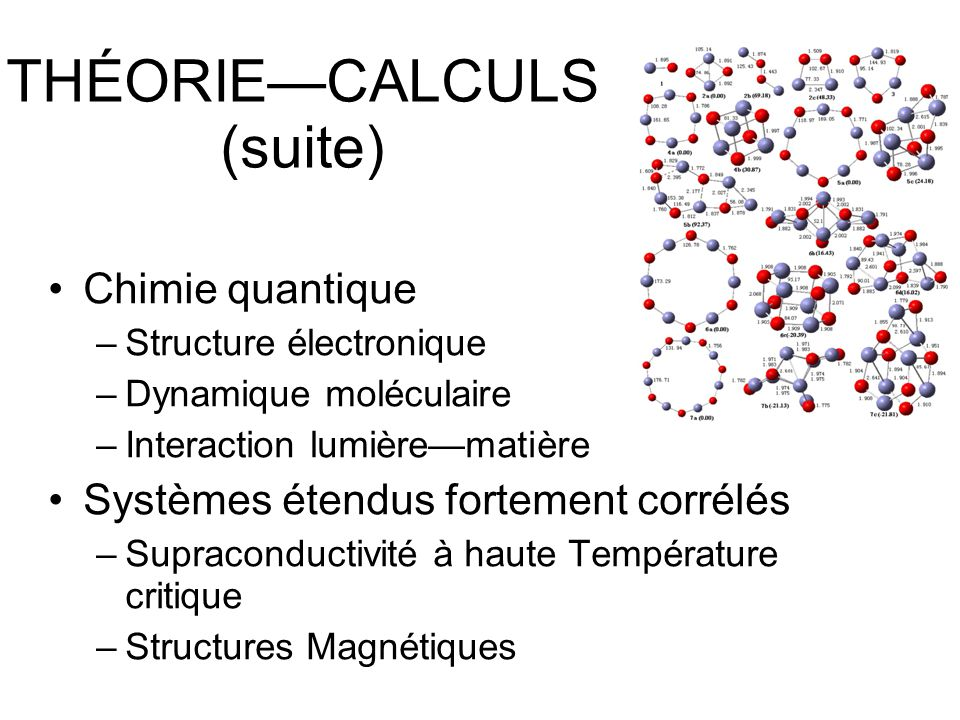 THÉORIE—CALCULS (suite)