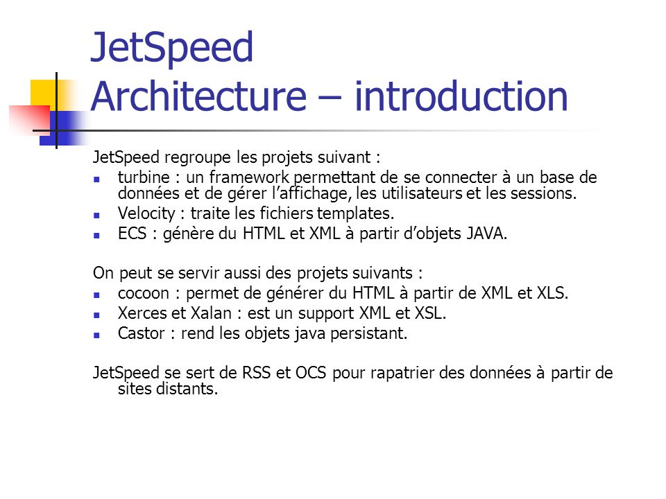 JetSpeed Architecture – introduction