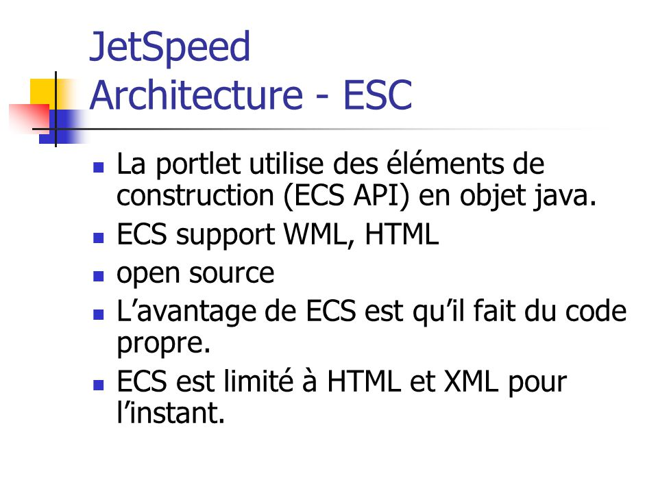 JetSpeed Architecture - ESC