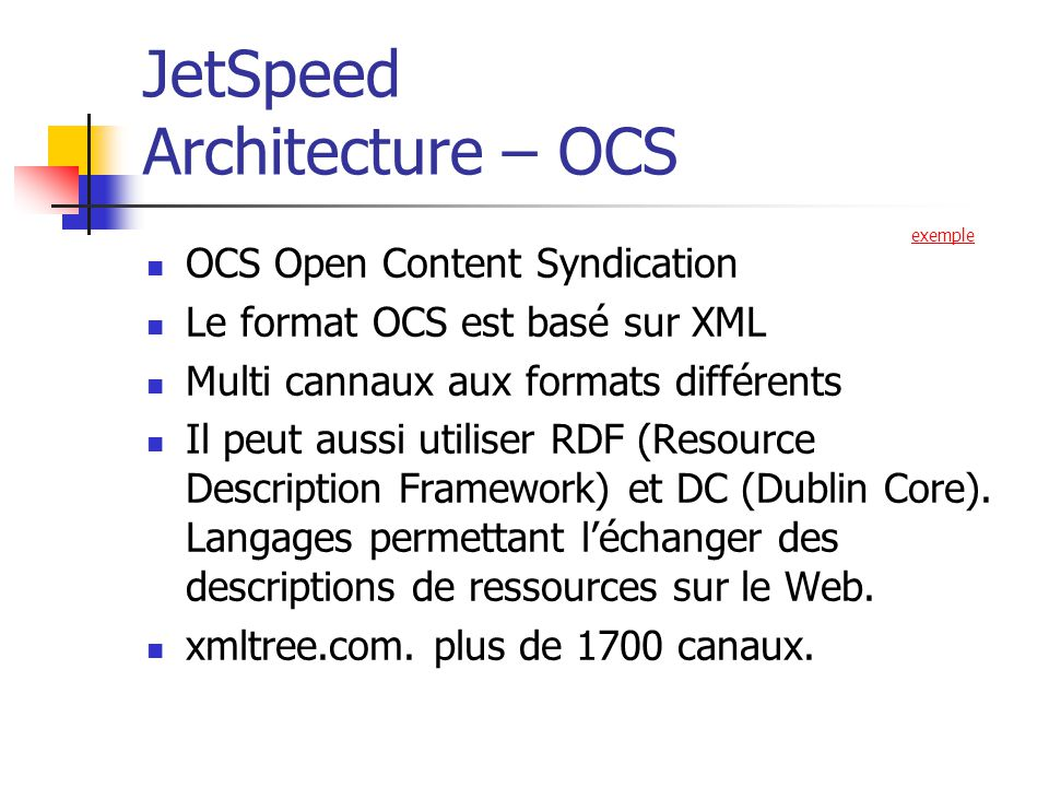 JetSpeed Architecture – OCS
