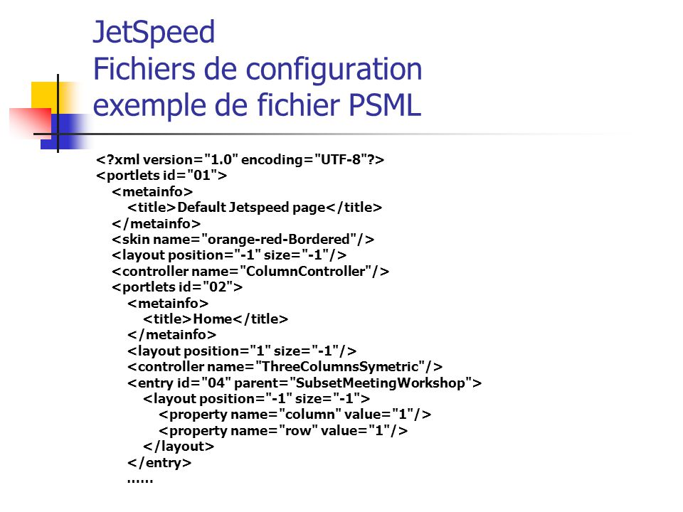 JetSpeed Fichiers de configuration exemple de fichier PSML