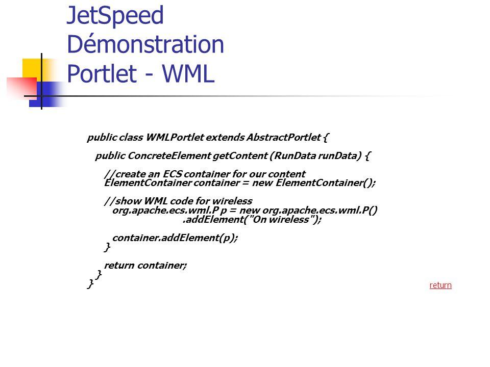 JetSpeed Démonstration Portlet - WML