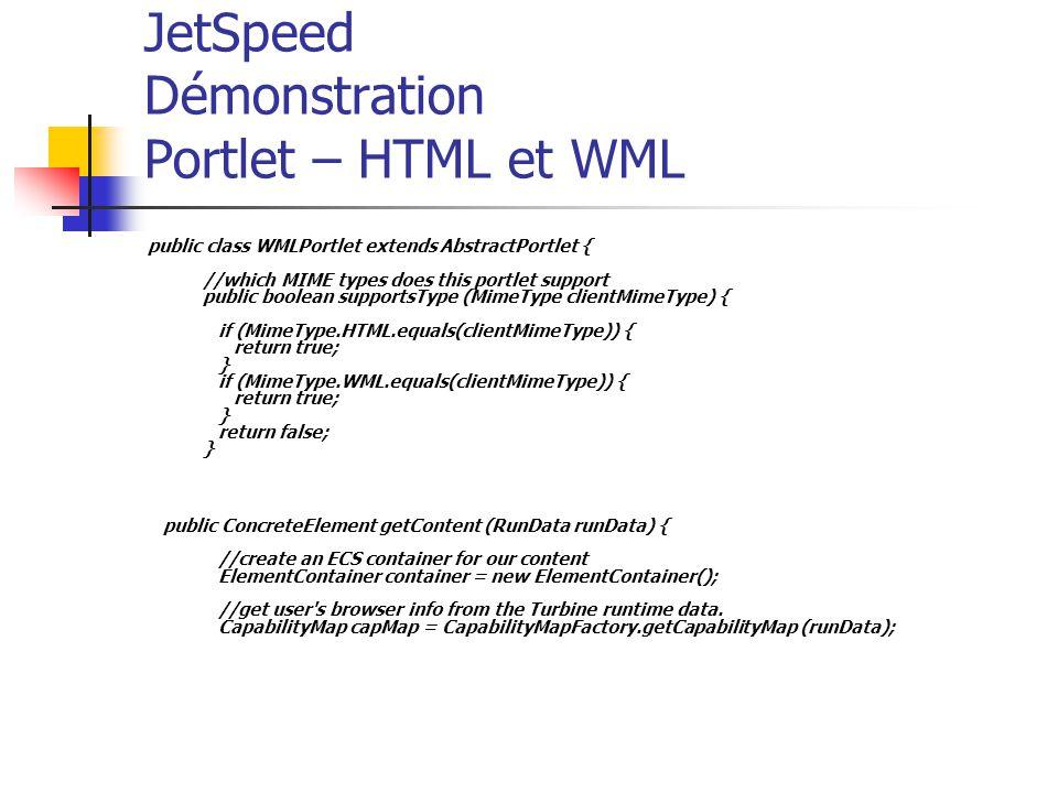 JetSpeed Démonstration Portlet – HTML et WML