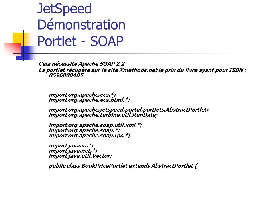 JetSpeed Démonstration Portlet - SOAP