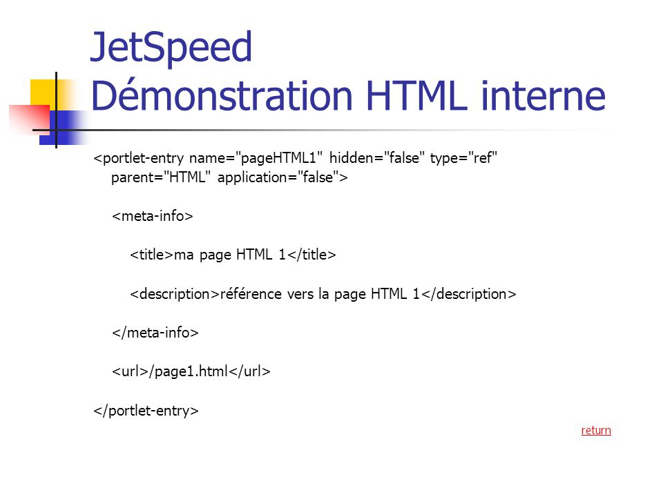 JetSpeed Démonstration HTML interne