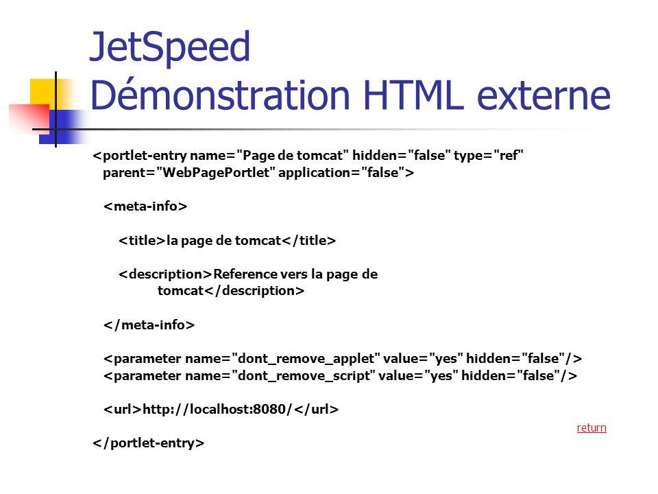 JetSpeed Démonstration HTML externe