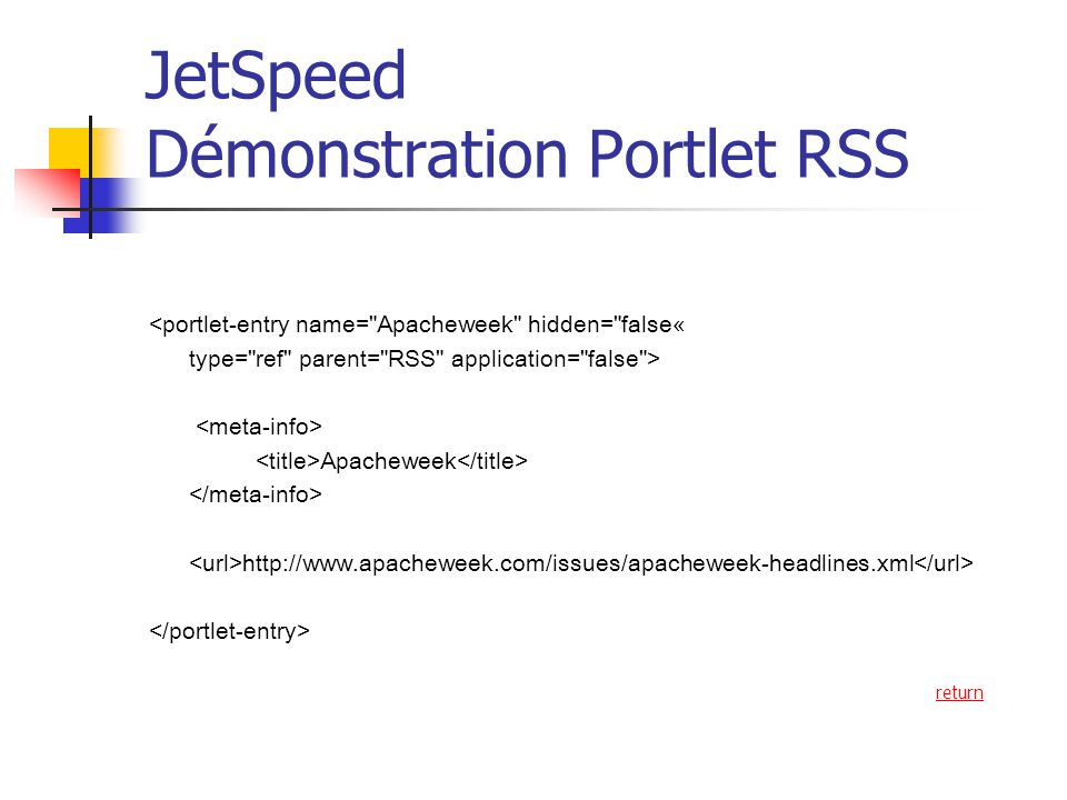 JetSpeed Démonstration Portlet RSS