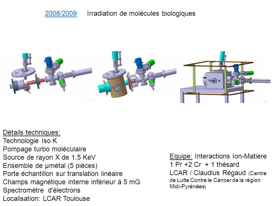 2008/2009 Irradiation de molécules biologiques