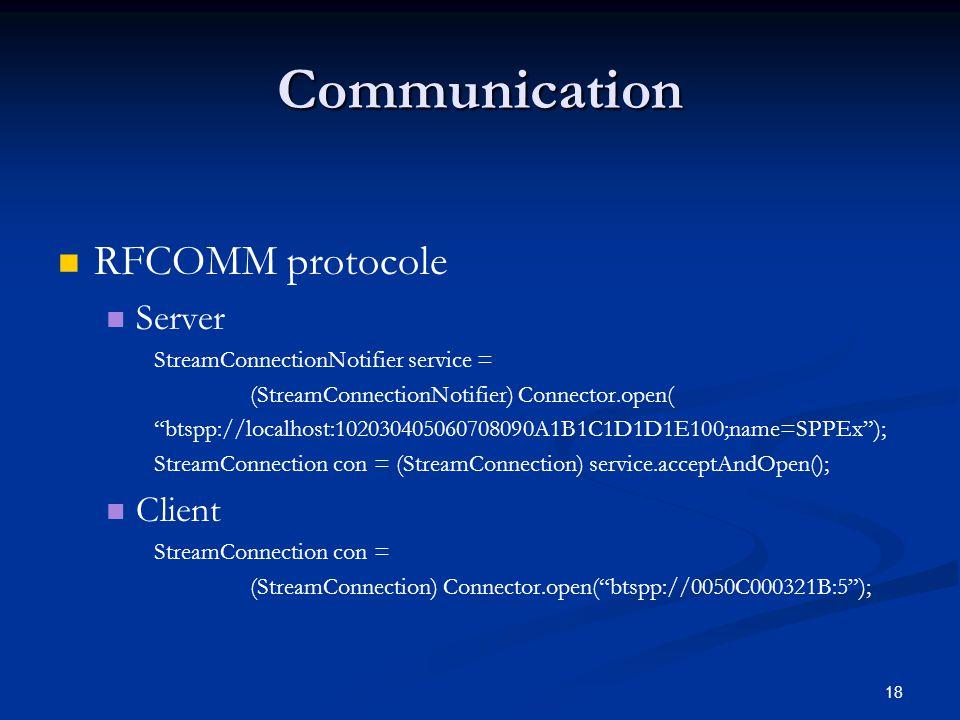 Communication RFCOMM protocole Server Client