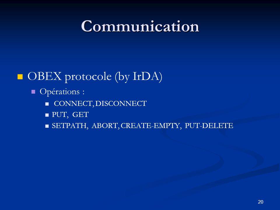 Communication OBEX protocole (by IrDA) Opérations :