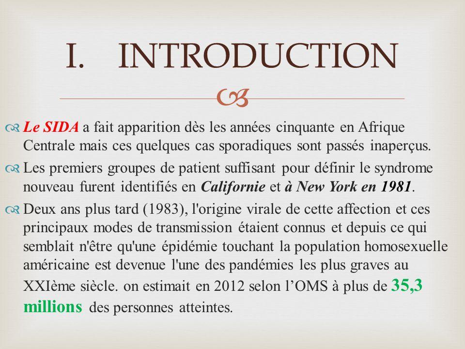 INTRODUCTION Le SIDA a fait apparition dès les années cinquante en Afrique Centrale mais ces quelques cas sporadiques sont passés inaperçus.