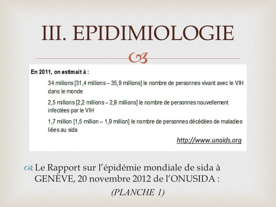 EPIDIMIOLOGIE Le Rapport sur l'épidémie mondiale de sida à GENÈVE, 20 novembre 2012 de l'ONUSIDA : (PLANCHE 1)