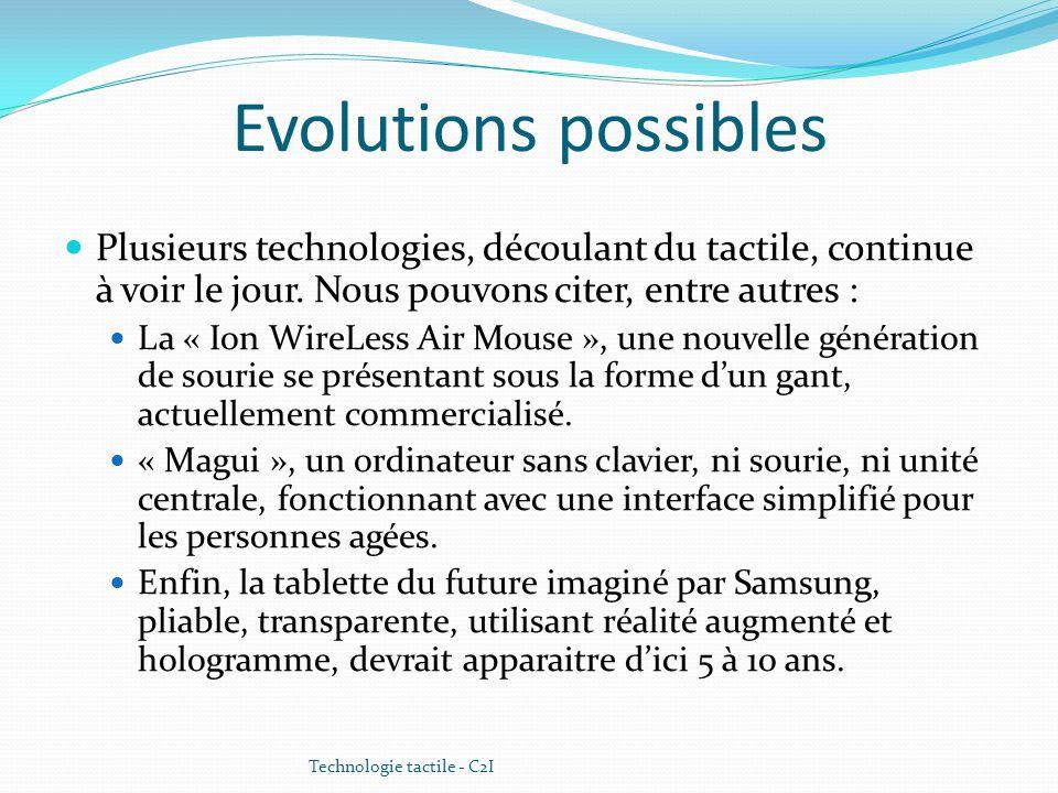 Evolutions possibles Plusieurs technologies, découlant du tactile, continue à voir le jour. Nous pouvons citer, entre autres :