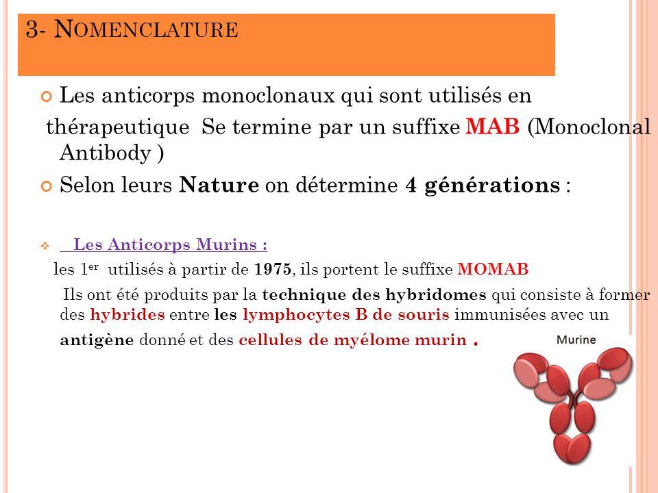 3- Nomenclature Les anticorps monoclonaux qui sont utilisés en