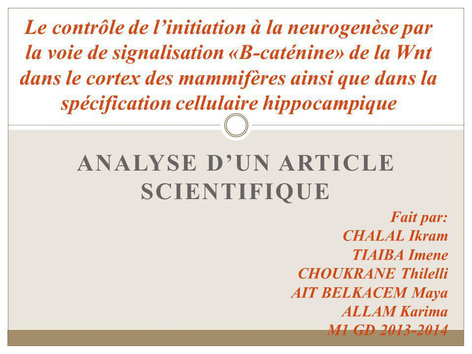 Analyse d'un article scientifique