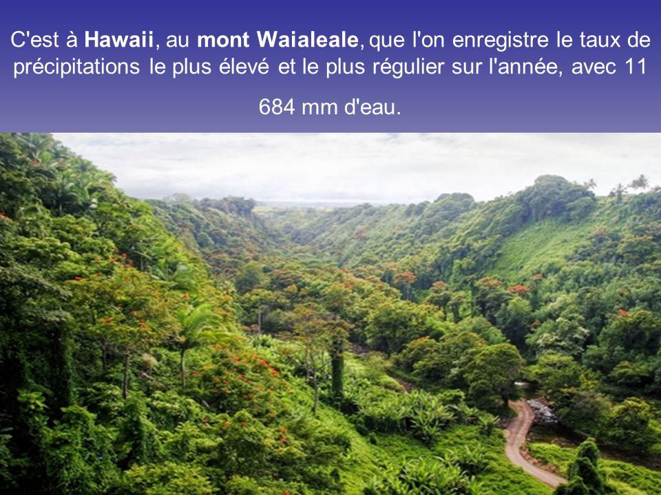 C est à Hawaii, au mont Waialeale, que l on enregistre le taux de précipitations le plus élevé et le plus régulier sur l année, avec 11 684 mm d eau.
