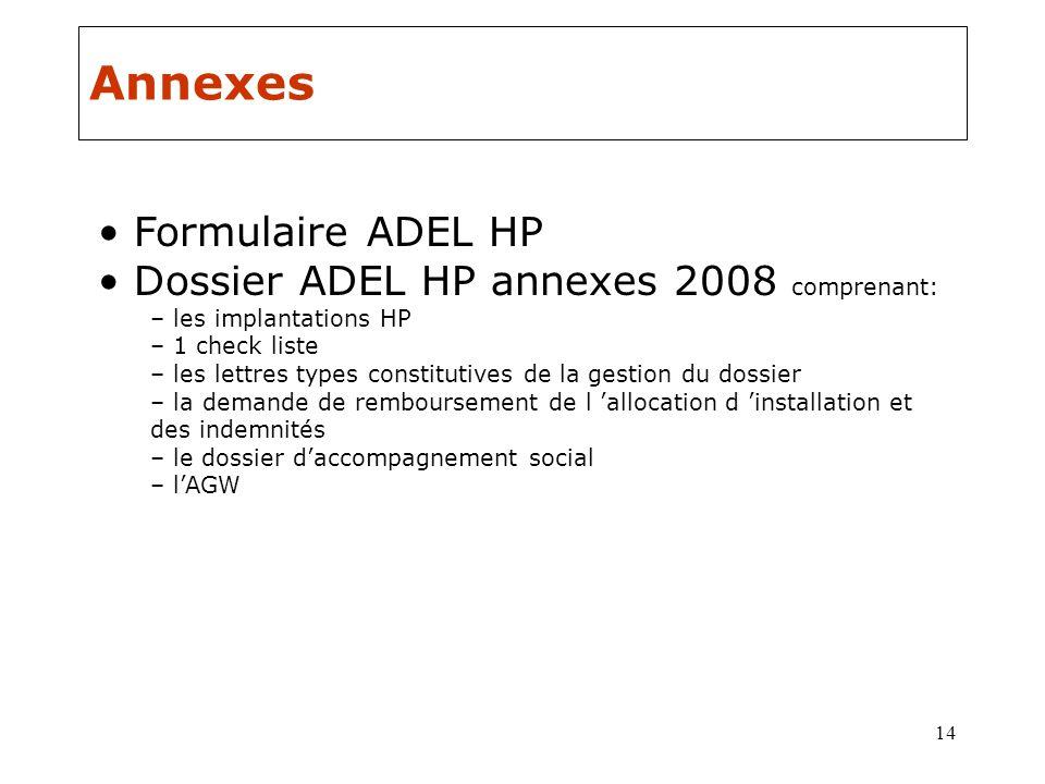 Annexes Formulaire ADEL HP Dossier ADEL HP annexes 2008 comprenant:
