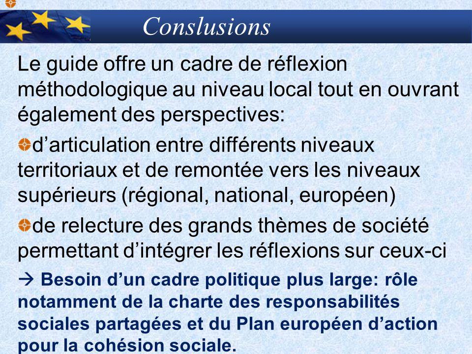 Conslusions Le guide offre un cadre de réflexion méthodologique au niveau local tout en ouvrant également des perspectives:
