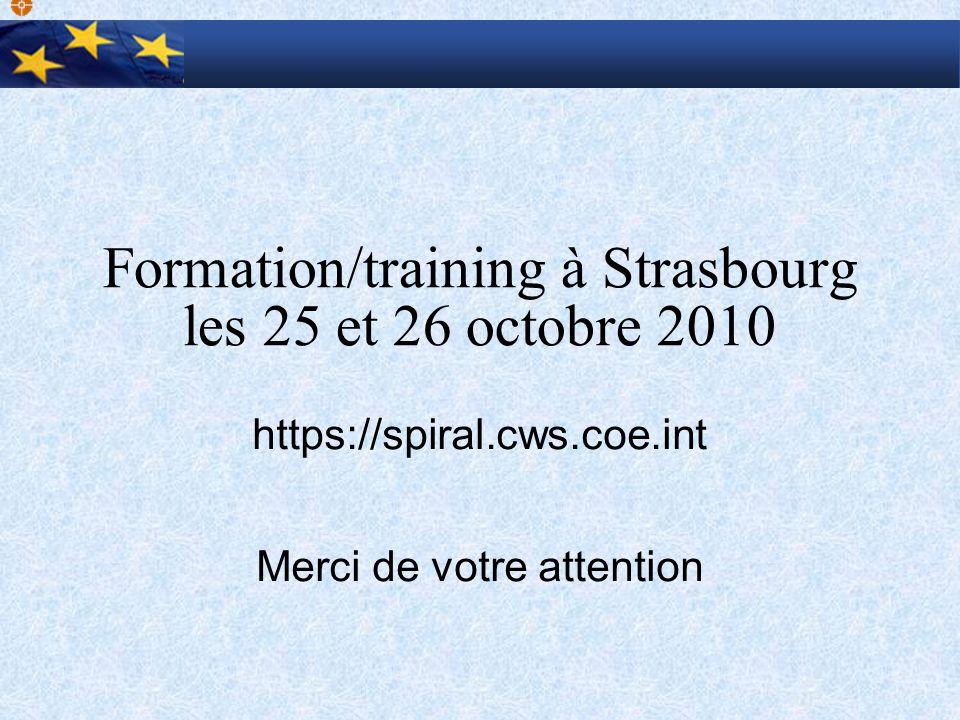 Formation/training à Strasbourg les 25 et 26 octobre 2010