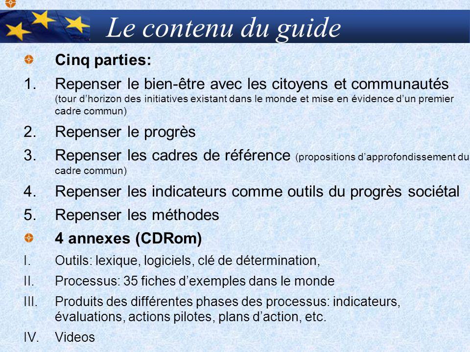 Le contenu du guide Cinq parties: