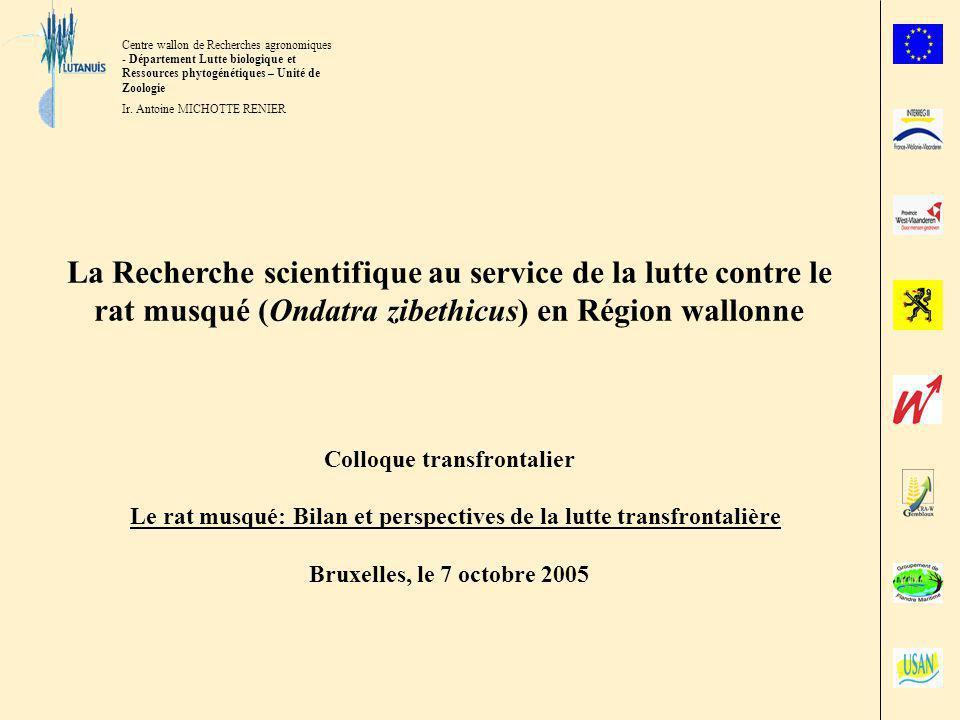 La Recherche scientifique au service de la lutte contre le rat musqué (Ondatra zibethicus) en Région wallonne.