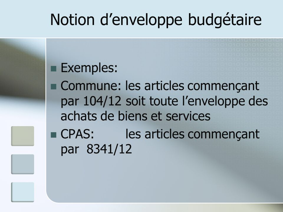 Notion d'enveloppe budgétaire