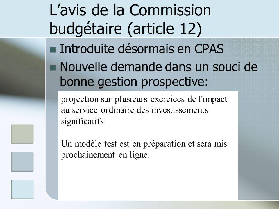 L'avis de la Commission budgétaire (article 12)