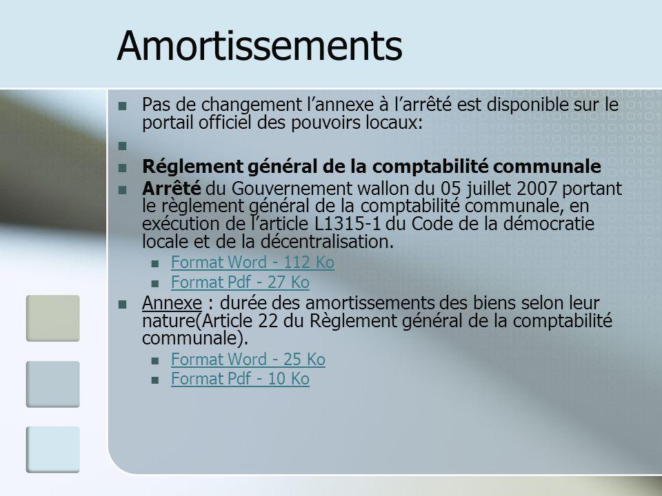 Amortissements Pas de changement l'annexe à l'arrêté est disponible sur le portail officiel des pouvoirs locaux: