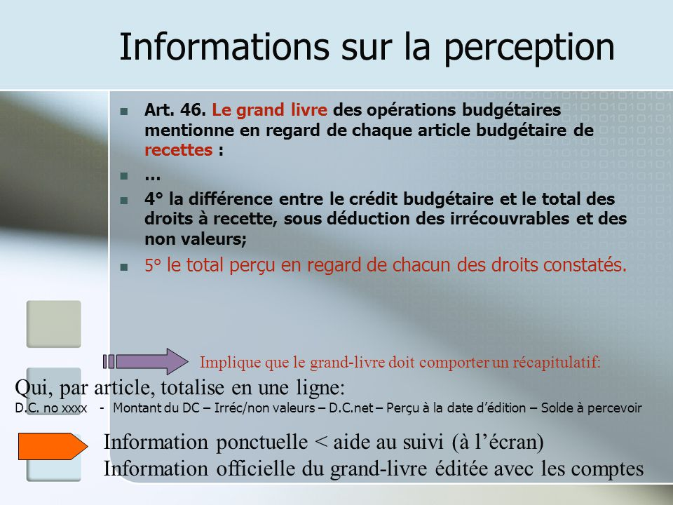 Informations sur la perception