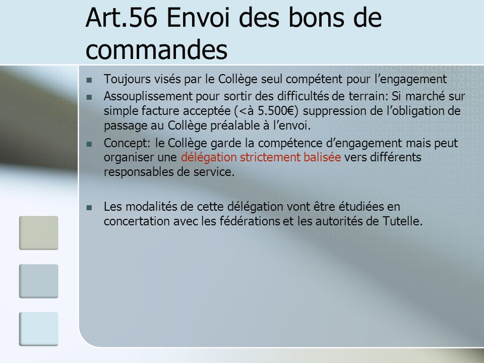 Art.56 Envoi des bons de commandes
