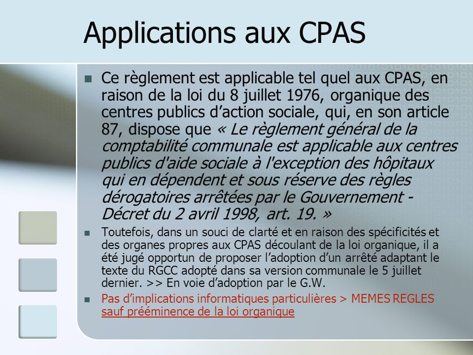 Applications aux CPAS