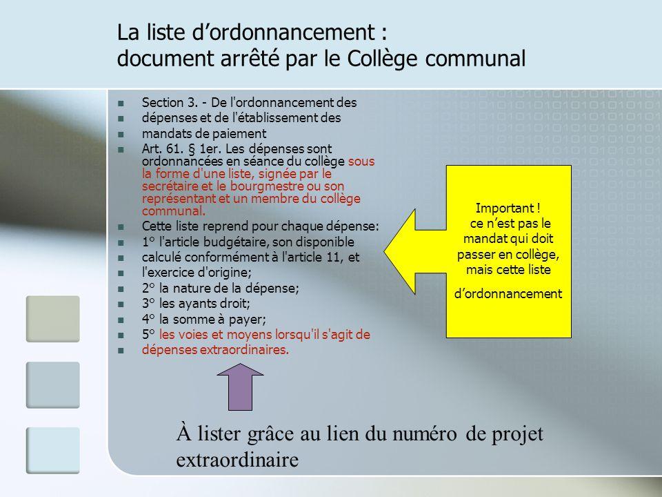 La liste d'ordonnancement : document arrêté par le Collège communal
