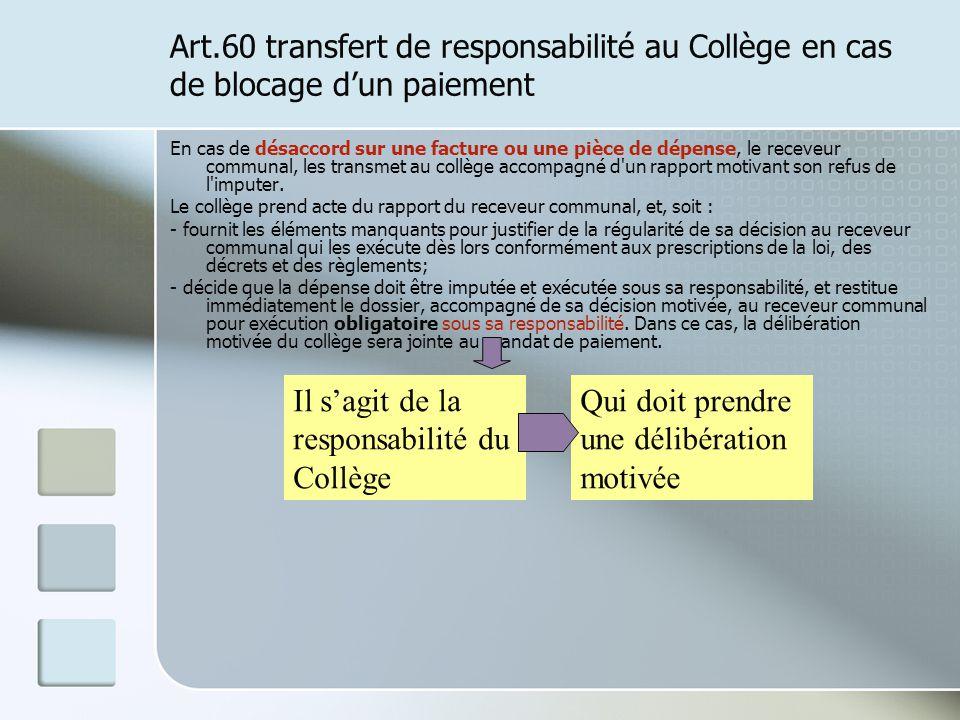 Il s'agit de la responsabilité du Collège