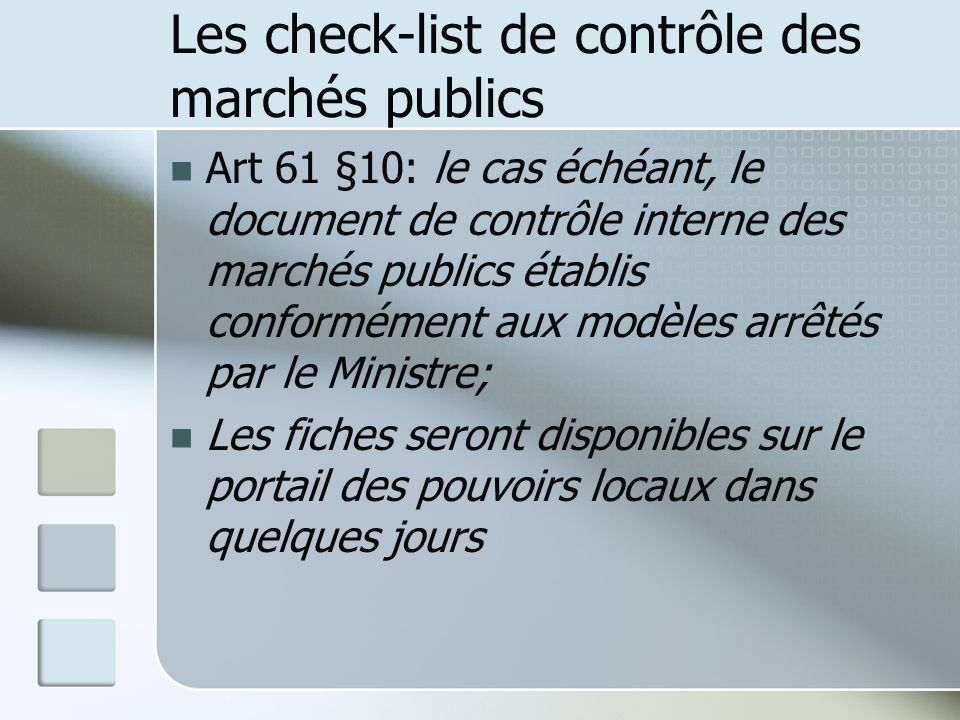 Les check-list de contrôle des marchés publics
