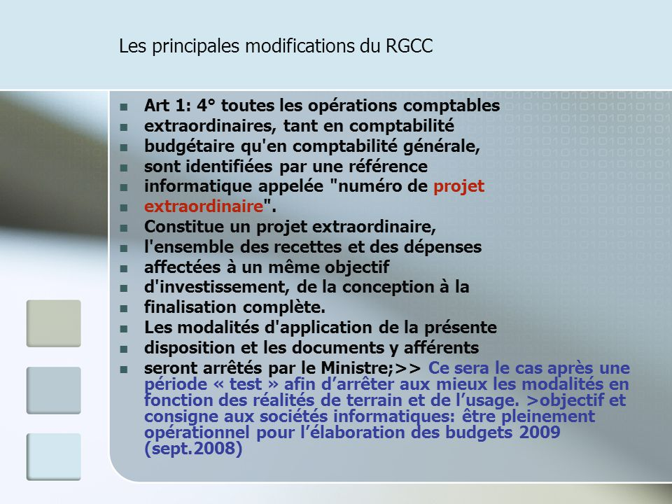 Les principales modifications du RGCC