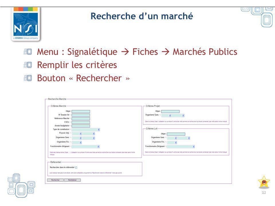 Recherche d'un marché Menu : Signalétique  Fiches  Marchés Publics.