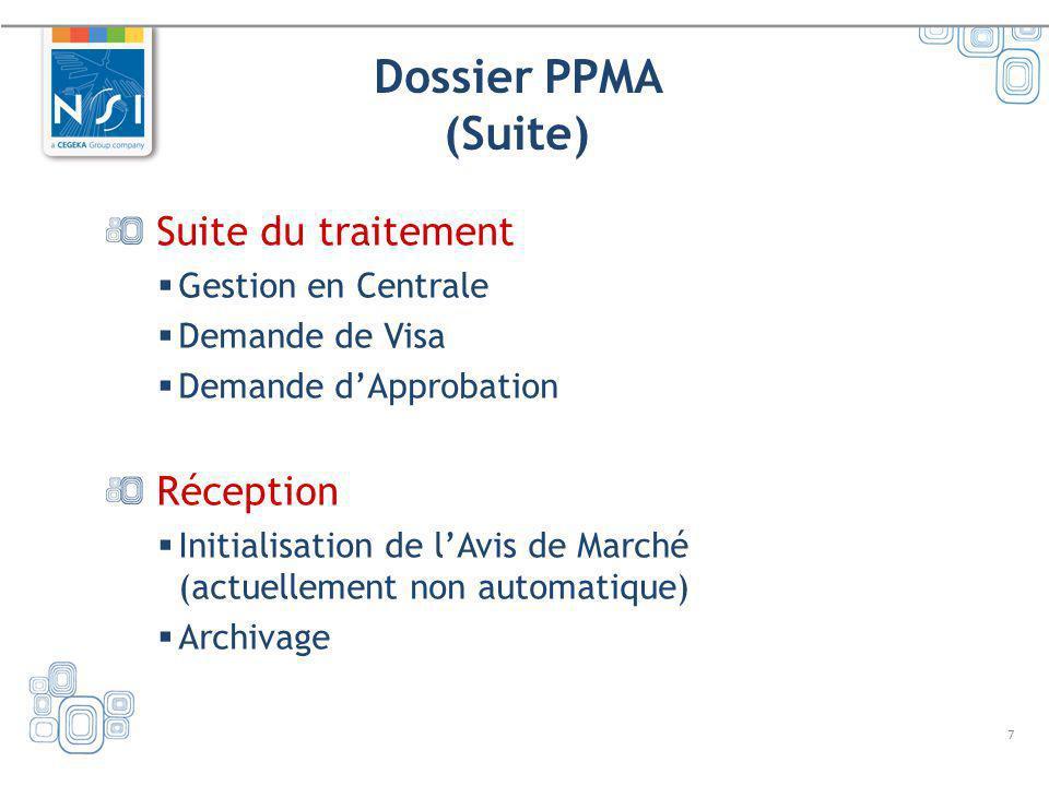 Dossier PPMA (Suite) Suite du traitement Réception Gestion en Centrale